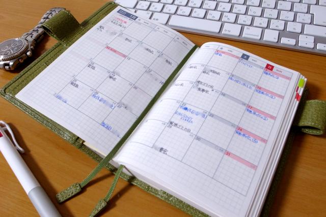 ほぼ日手帳 月間スケジュール欄の写真