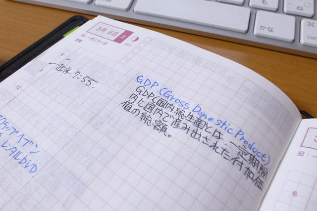 ほぼ日手帳で勉強しているページの写真