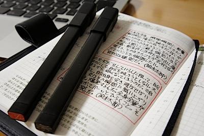 ほぼ日手帳とMOLESKINEのペンの組み合わせの写真