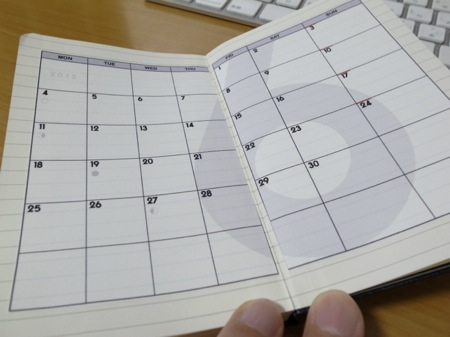 Moleskineとカレンダーの写真