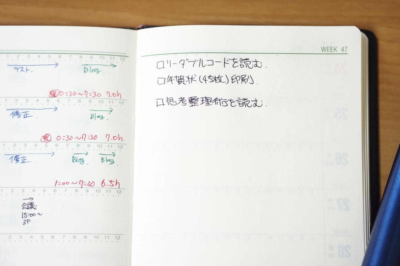 能率手帳ゴールドのメモ欄の写真
