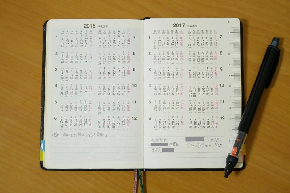 能率手帳ゴールド・前年・来年のカレンダーページ