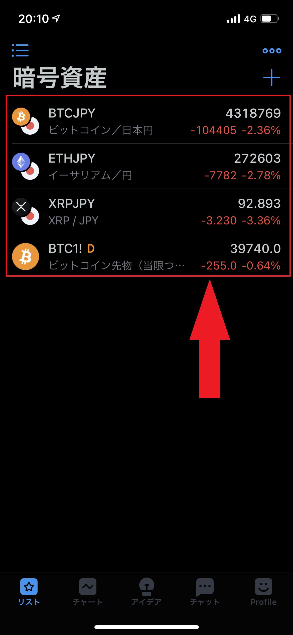 TradingViewに暗号資産のシンボル追加完了のスクリーンショット
